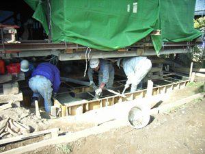 工事写真 揚屋をしての基礎工事作業(基礎コンクリート打設)