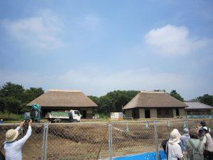 ひたちなか海浜公園内に移築工事中の土肥家主屋(右)と隠居屋